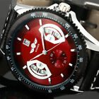 Winner Men Casual Black Leather Date Automatic Mechanical Sport Army Wrist Watch image