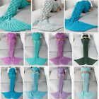 MERMAID TAIL BLANKET HANDCRAFTED Adult SLEEPING BAG Kids WARM SOFA KNIT MATS Rug image