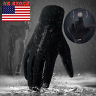 Men's Winter Insulated Genuine Black Leather Gloves, Light Fleece Lining USA
