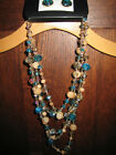 Blue, Gold, Smoke Beige Faceted Glass Bead Tiered Necklaec & Pierced Earring Set
