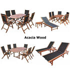 Folding Outdoor Garden Dining Set Oval Table And Chairs Sunlounger Acacia Wood