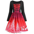 Damen Weihnachten Weihnachtsmann Kleid Rockabilly Swing Xmas Party Cocktailkleid