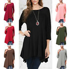 Women Casual Tops 3/4 Sleeve Crew Neck Baggy Casual Tunic Shirts Swing Dress Top