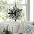 Star Iron Glass LANDERN CANDLE HOLDER Outdoor Hanging Chain Twinkling Metal Chic