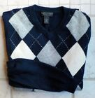 Grayson & Dunn Argyle 2 Ply Heavyweigh Cashmere V-Neck Sweater Large Navy, Gray