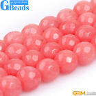 """Pink Jade Gemstone Faceted Round Beads For Jewelry Making Free Shipping 15"""""""