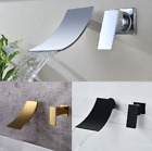3 Colors 2PCs Wall Mount  Brass Baisn Tub Mixer Faucet Waterfall Spary Tap