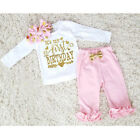 First Birthday Newborn Baby Girl Pink Clothes T Shirt Top Pink Pants Outfit Set