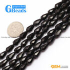 Natural Black Onyx Agate Faceted Teardrop Loose Beads For Jewelry Making 15""