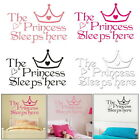 1PC Princess Sleeps Here Bedroom Wall Stickers Living Room Children Home Decor
