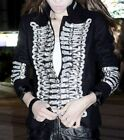Black Military Regiment Metal Chain Padded Shoulder Blazer Jacket + Balmain Gift