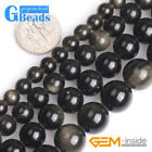 Big Hole Natural Golden Black Obsidian Stone Round Beads for Jewelry Making 15""