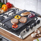 Cast Iron Non-Stick BBQ Plate Grill Pan Reversible Griddle Indoor Hob Cooking
