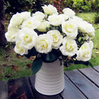12-Head Artificial Fake Roses Silk Flower Wedding Home Bridal Bouquet Decoration