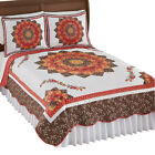 Autumn Star Reversible Patchwork Floral Quilt with Quilted Stitching image