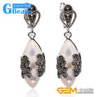 Fashion Marquise Bead Marcasite Silver Dangle Stud Hoop Earring Christmas Gift
