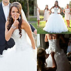 A-Line Ruffles Organza Wedding Dress Beaded Sweetheart Bridal Gowns White /ivory