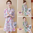 Womens Sexy Long Sleeve Round Neck Loose Contrast Pattern Fashion Printed Dress