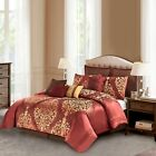 Luxurious Silky Gold Damask 10 pcs Comforter Full Queen Set