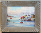 UNSIGNED OIL DATED 1959 EAST COAST HARBOUR FISHING TOWN NAIVE FOLK