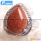 Natural 16x18mm Teardrop Gemstone Fashion Jewelry Silver Plated Finger Ring