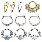 Surgical Steel Septum Clicker Nose Ring Hinge Segment Ear Helix Tragus Hoop 16g image
