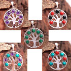 Amethyst Onyx Coral Turquoise 925 Sterling Silver 7 stone tree of life Pendant
