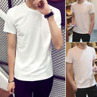 Hot Men Short Sleeve T Shirt Basic Tee Solid White Casual Tops Cotton T-Shirt
