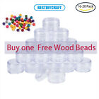 16 20 Packs Clear Plastic Bead Storage Container jars with Round Screw-Top Lids