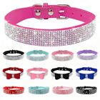 Rhinestone Diamante Dog Collar Soft Suede Bowknot for Puppy Cat Chihuahua Yorkie
