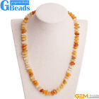 Natural Yellow Jade Gemstone Beads Handmade Finished Jewelry Necklace 17-18 Inch
