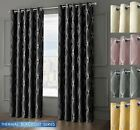 3 Pass Thermal Ready Made Ring Top Blackout Curtains Geometric Light Reducing