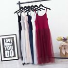 Lady Extender Camisole Tank Slip Tops Dress Trim Layer Long Vest Mesh Underdress