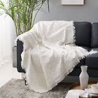 Solid Weave Fringed Blanket Cotton Throws Sofa Settee Bed Dust Cover Home Decor