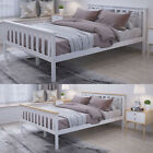 Modern Wooden Double Bed Frame in White/Pine 4ft6 For Adult Bedroom Furniture UK