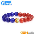 Assorted Color Cat Eye Round Beads Beaded Stretch Fashion Bracelect for Women 7""