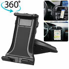 "360° Universal CD Slot Car Mount Holder Stand for Cell Phone & 4-12"" Tablets Pad"