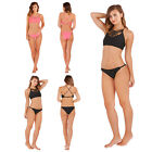 Boutique Womens Crop Top Bikini Set Ladies Criss Cross High Neck Brief Swimwear