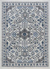 Ivory Contemporary Machine Made Scrolls Vines Loops Area Rug Floral HMP4017