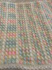 NEW! Hand Crocheted Baby Blanket In Pastel Pink, Blue, Yellow, Green And White