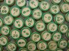 Photo.  Close-up of old green Bingo Numbers