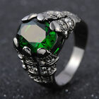 Black Gold Filled Men's Jewelry Green Emerald Party Wedding Rings Size 8-11