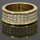 Men's 14k Gold Plated Hip Hop Style Round 3 Line Cz Ring Sizes 7 8 9 10 11 12