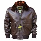 Men WWII Navy G-1 Genuine Leather Flight Bomber Jacket With Warm Quilted Lining
