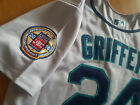 Seattle Mariners 24 Ken Griffey JrThrowback Jersey New Tag dual patches sewn