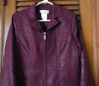 NWT Miss Dorby Wine Animal Print Zip Jacket With Two Pockets  Size 12