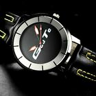 mens genuine leather watch analog sport water resistant easy to read casual