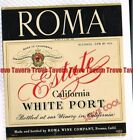 Unused 1940s 116mm CALIFORNIA Fresno ROMA ESTATE WHITE PORT WINE Label