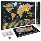Scratch Off World Map + Premium Scratch Off USA Map - Deluxe Tube