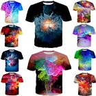 Colorful Oil paintting 3D print womens/mens Short Sleeve T-Shirt Casual Tops BV7